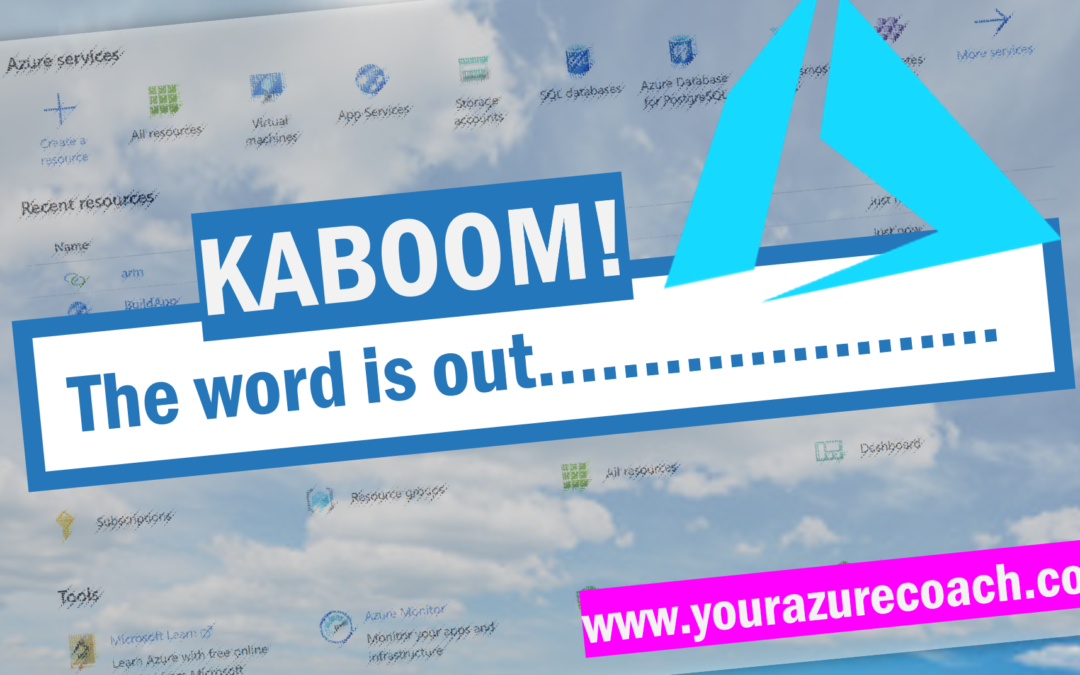 KABOOM!!! The word is out…
